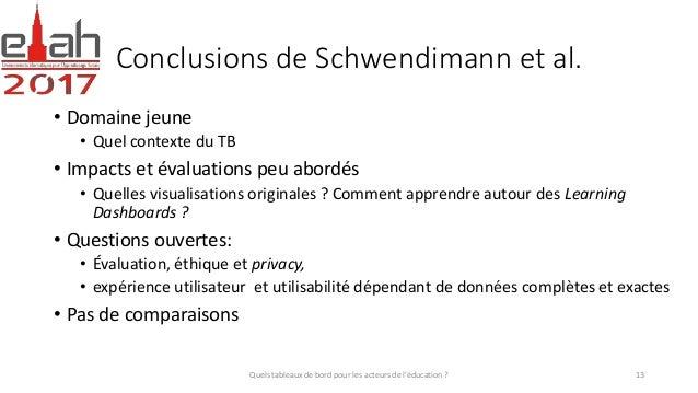 Conclusions de Schwendimann et al. • Domaine jeune • Quel contexte du TB • Impacts et évaluations peu abordés • Quelles vi...