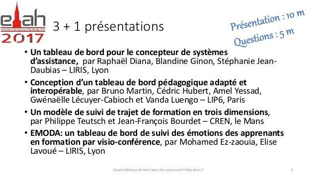 3 + 1 présentations • Un tableau de bord pour le concepteur de systèmes d'assistance, par Raphaël Diana, Blandine Ginon, S...