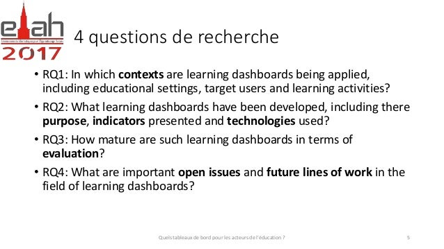 4 questions de recherche • RQ1: In which contexts are learning dashboards being applied, including educational settings, t...