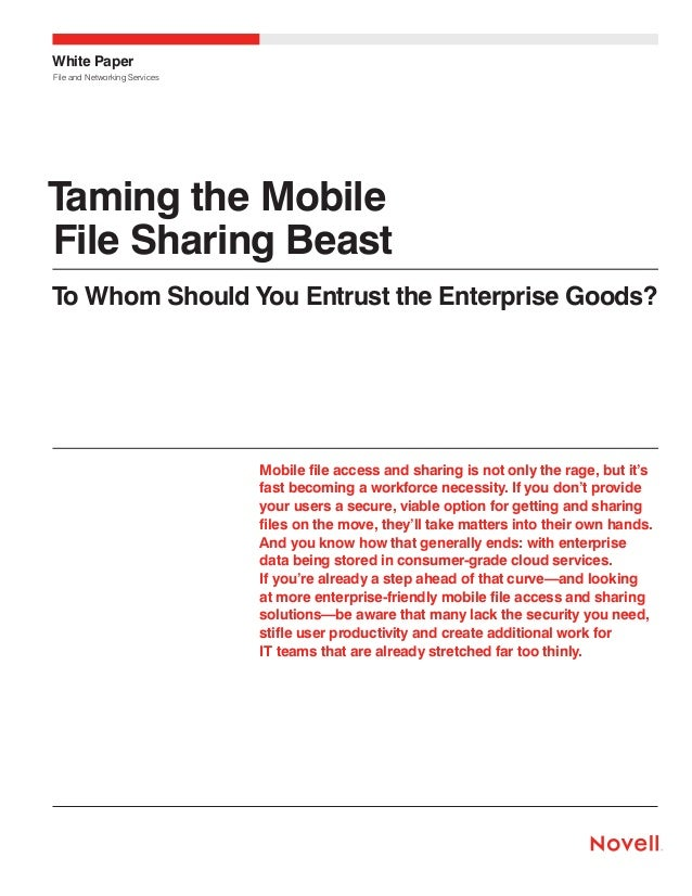 White Paper File and Networking Services  Taming the Mobile File Sharing Beast To Whom Should You Entrust the Enterprise G...