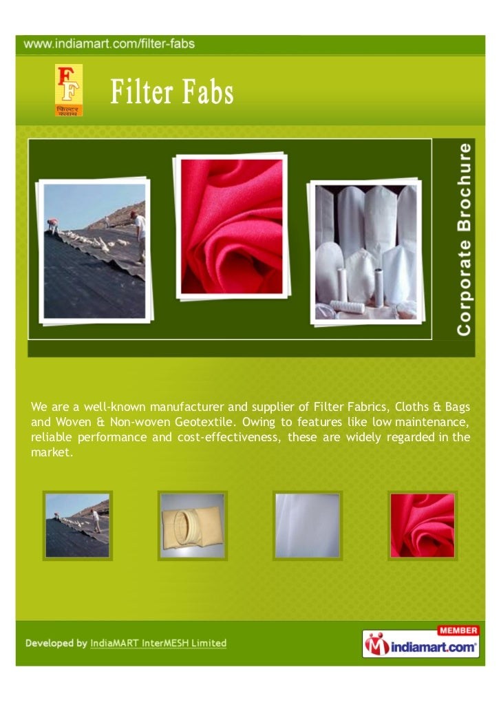 We are a well-known manufacturer and supplier of Filter Fabrics, Cloths & Bagsand Woven & Non-woven Geotextile. Owing to f...