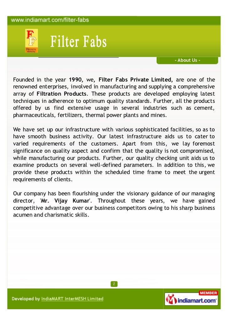 Filter Fabs, Delhi, Filter Bags Slide 2