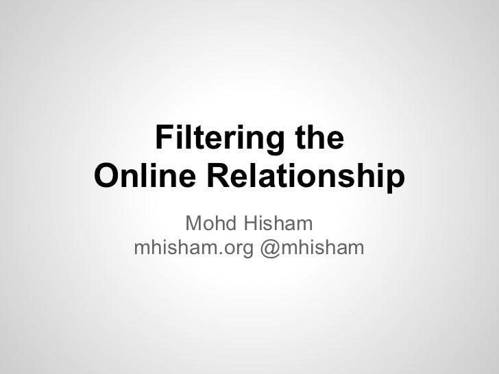 Filtering theOnline Relationship       Mohd Hisham  mhisham.org @mhisham