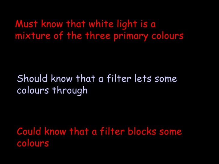 Could know that a filter blocks some colours Should know that a filter lets some colours through Must know that white ligh...