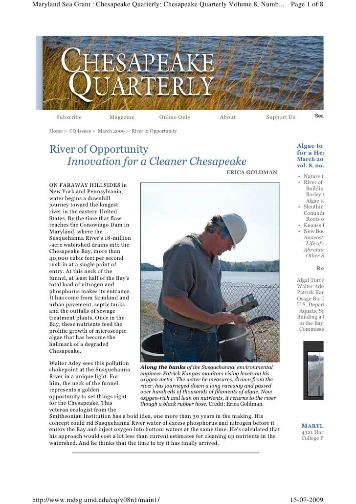 Maryland Sea Grant : Chesapeake Quarterly: Chesapeake Quarterly Volume 8, Numb... Page 1 of 8            Subscribe        ...