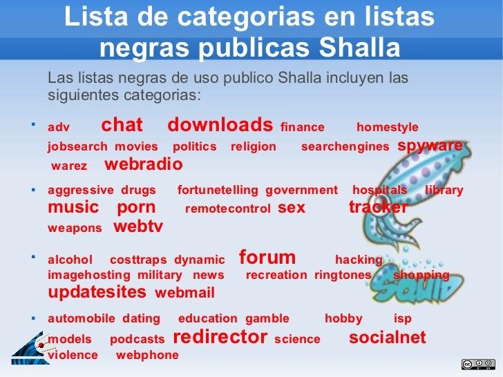 Lista de categorias en listas         negras publicas Shalla    Las listas negras de uso publico Shalla incluyen las    si...