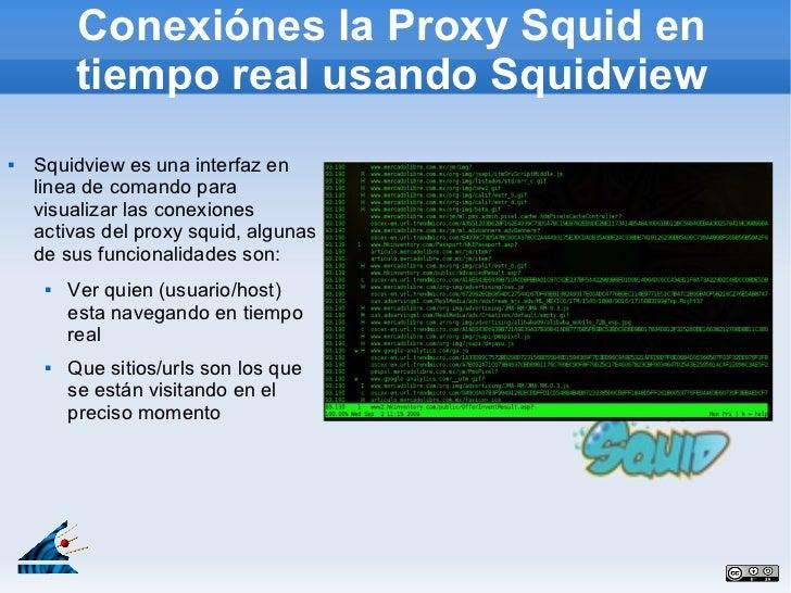 Conexiónes la Proxy Squid en         tiempo real usando Squidview   Squidview es una interfaz en    linea de comando para...