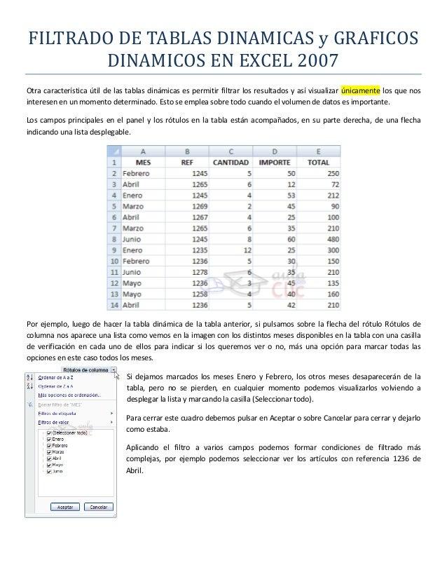 FILTRADO DE TABLAS DINAMICAS y GRAFICOS DINAMICOS EN EXCEL 2007 Otra característica útil de las tablas dinámicas es permit...