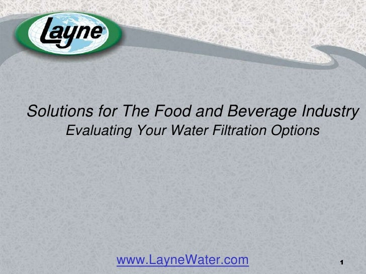 Solutions for The Food and Beverage Industry      Evaluating Your Water Filtration Options                  www.LayneWater...