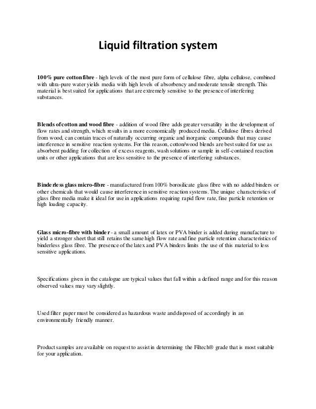 Liquid filtration system 100% pure cotton fibre - high levels of the most pure form of cellulose fibre, alpha cellulose, c...