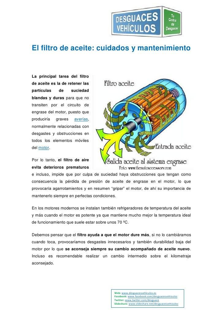 El filtro de aceite: cuidados y mantenimientoLa principal tarea del filtrode aceite es la de retener laspartículas     de ...