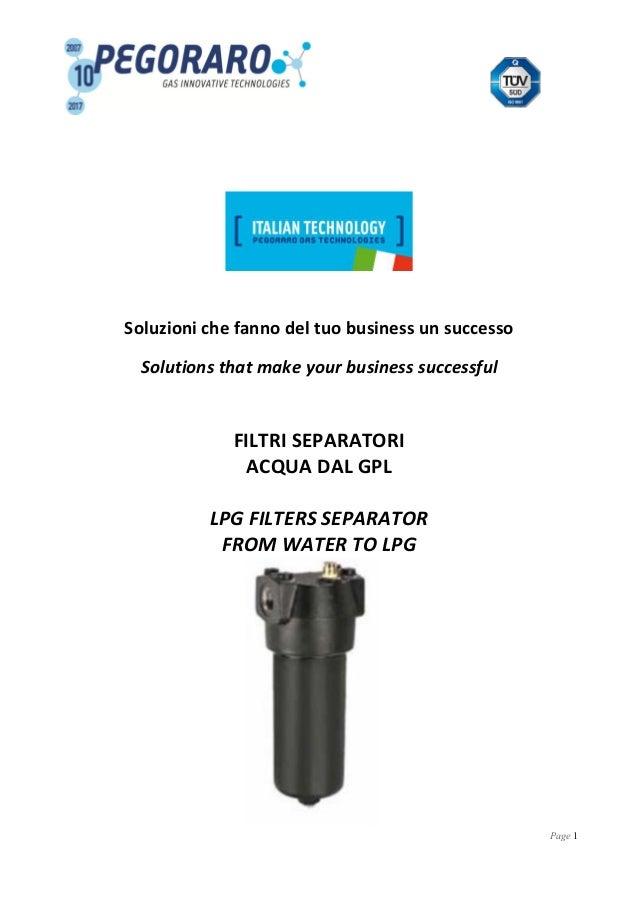 Page 1 Soluzioni che fanno del tuo business un successo Solutions that make your business successful FILTRI SEPARATORI ACQ...