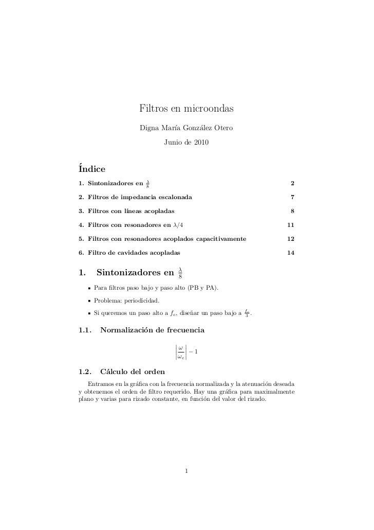 Filtros en microondas                       Digna Mar´ Gonz´lez Otero                                ıa    a              ...