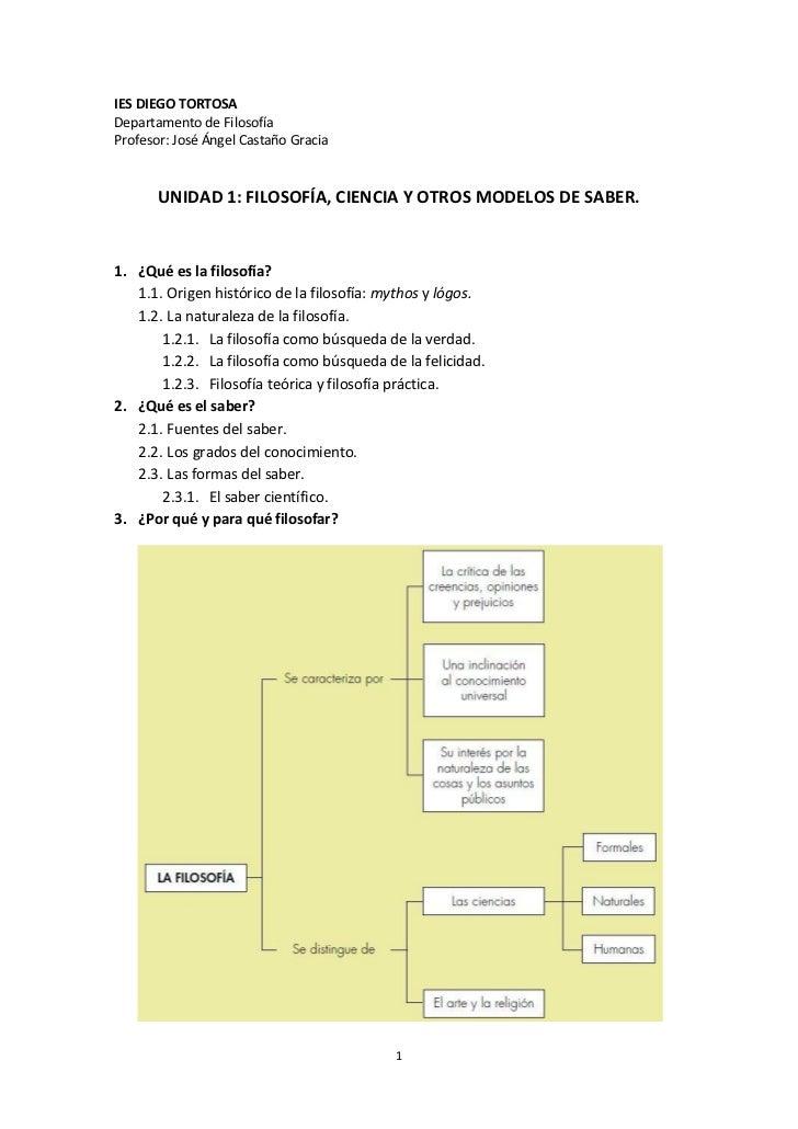 IES DIEGO TORTOSA Departamento de Filosofía Profesor: José Ángel Castaño Gracia          UNIDAD 1: FILOSOFÍA, CIENCIA Y OT...