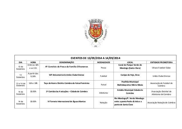 EVENTOS DE 13/09/2014 A 14/09/2014  DIA  HORA  DENOMINAÇÃO  MODALIDADE  LOCAL  ENTIDADE PROMOTORA  13 de Setembro  Entre a...