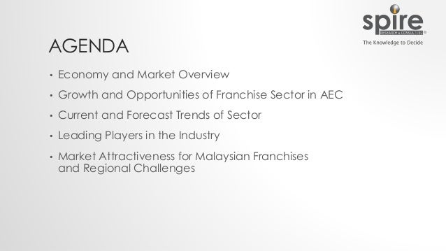 AGENDA • Economy and Market Overview • Growth and Opportunities of Franchise Sector in AEC • Current and Forecast Trends o...