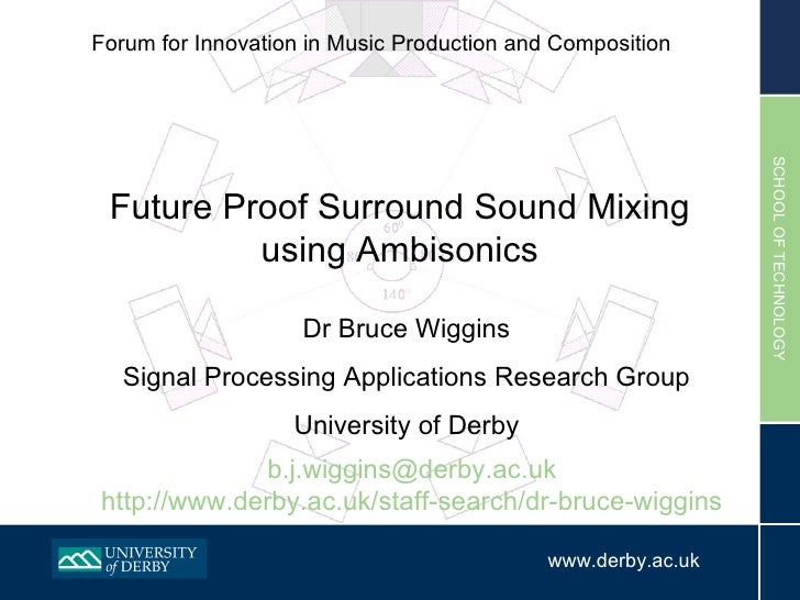 Forum for Innovation in Music Production and Composition  Dr Bruce Wiggins Signal Processing Applications Research Group U...