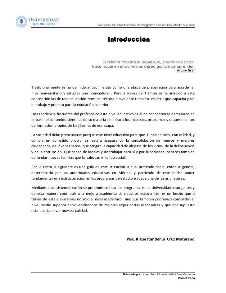 Guía para la Estructuración de Programas en el Nivel Medio Superior                                              Introducc...