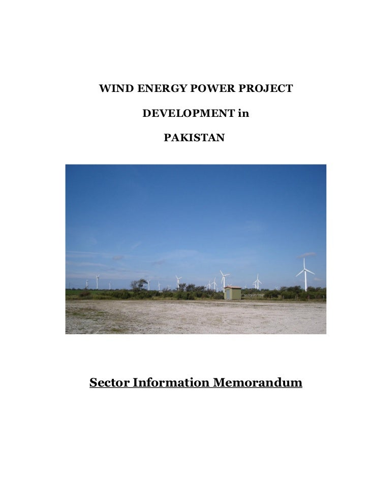 WIND ENERGY POWER PROJECT       DEVELOPMENT in          PAKISTANSector Information Memorandum