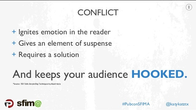CONFLICT + Ignites emotion in the reader + Gives an element of suspense + Requires a solution And keeps your audience HOOK...