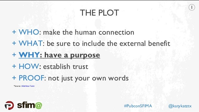 THE PLOT + WHO: make the human connection + WHAT: be sure to include the external benefit + WHY: have a purpose + HOW: est...