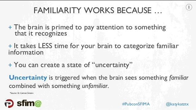 FAMILIARITY WORKS BECAUSE … + The brain is primed to pay attention to something  that it recognizes + It takes LESS time...