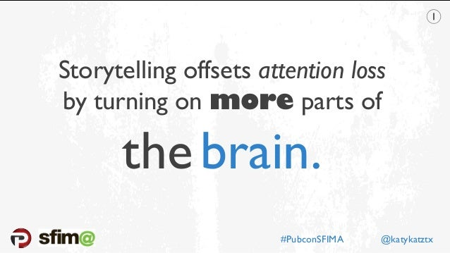 Storytelling offsets attention loss by turning on more parts of thebrain. #PubconSFIMA @katykatztx