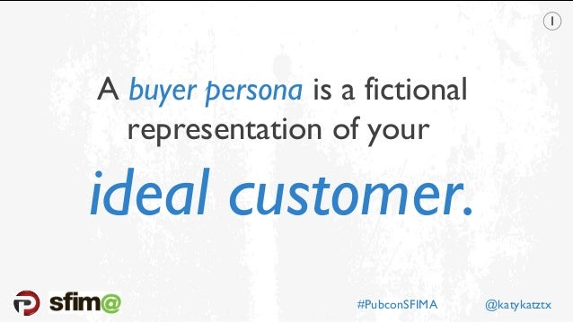 A buyer persona is a fictional representation of your ideal customer. #PubconSFIMA @katykatztx