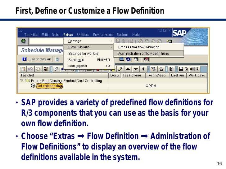 Sap closing cockpit flow definition