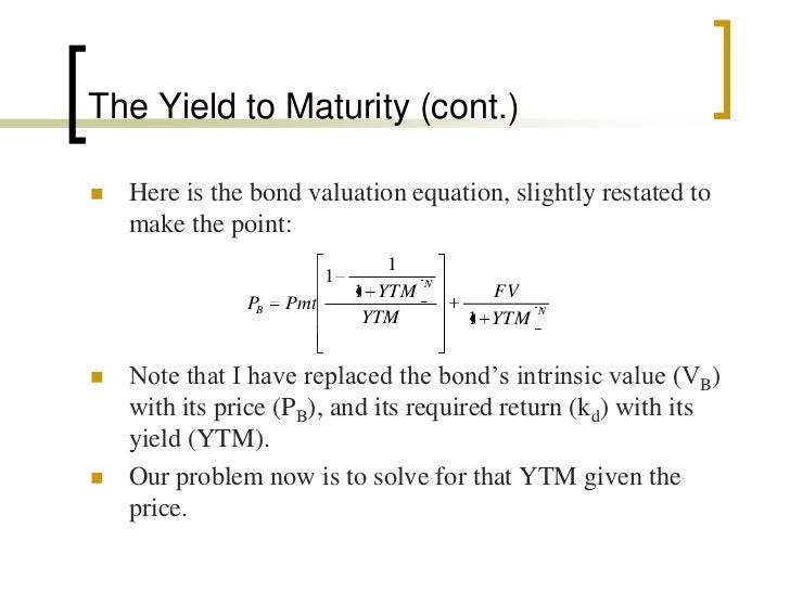 Municipal bonds yield to maturity