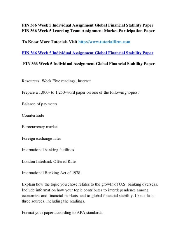 fin 366 week 4 learning team deliverable Tutorialoutlet is a online tutorial store we provides fin 402 week 2 learning team assignment portfolio selection paper (uop.