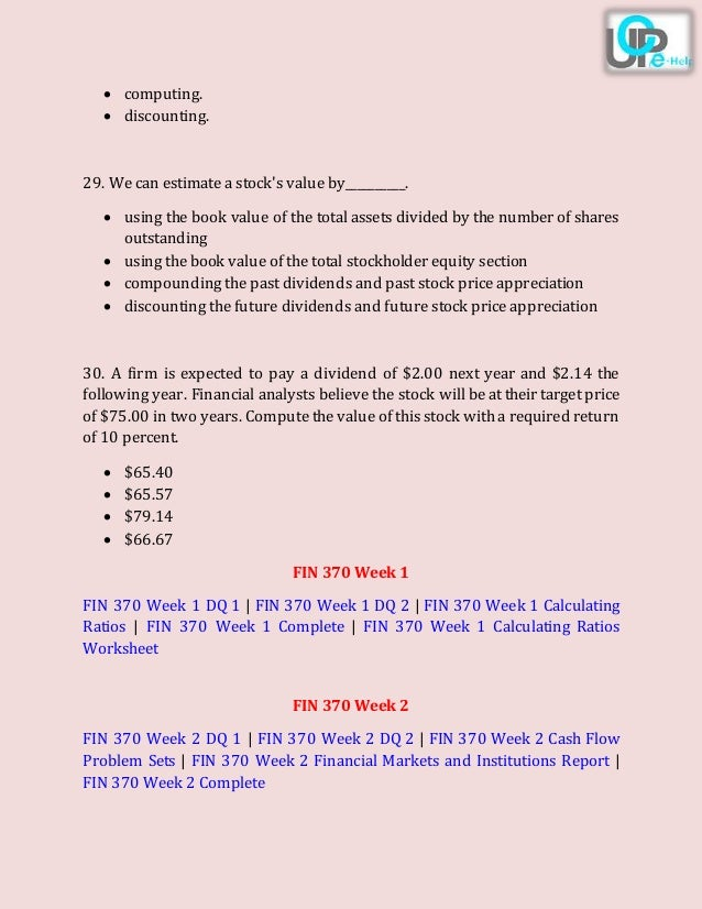 uop fin 370 final exam free Read this essay on uop fin 370 final exam free answers come browse our large digital warehouse of free sample essays get the knowledge you need in order to pass.