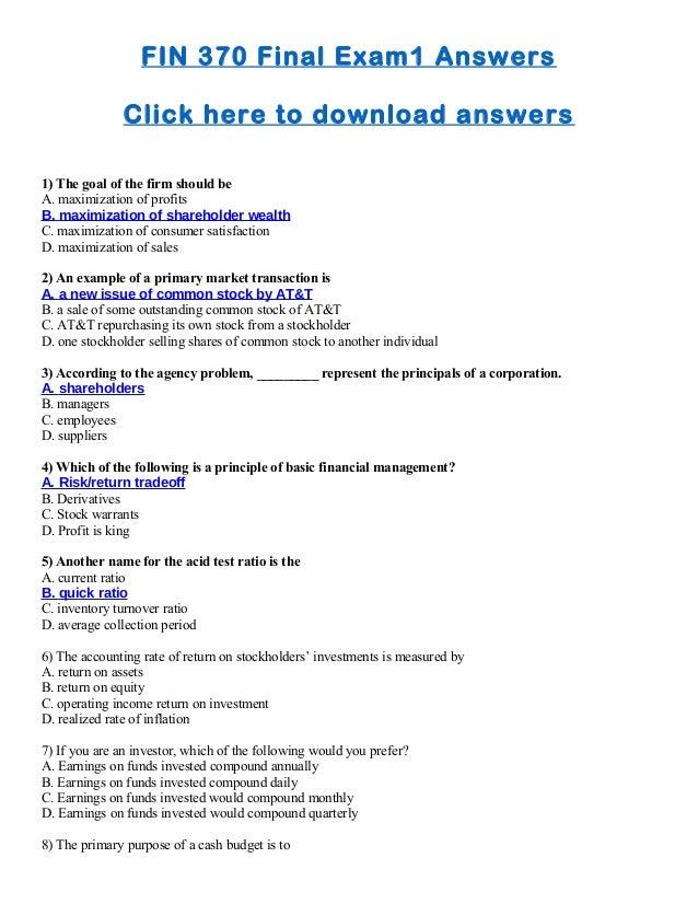 Financing exam answers