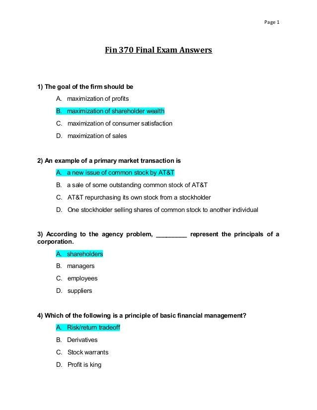 FIN 370 Final Exam Set 5 – Finance for Business