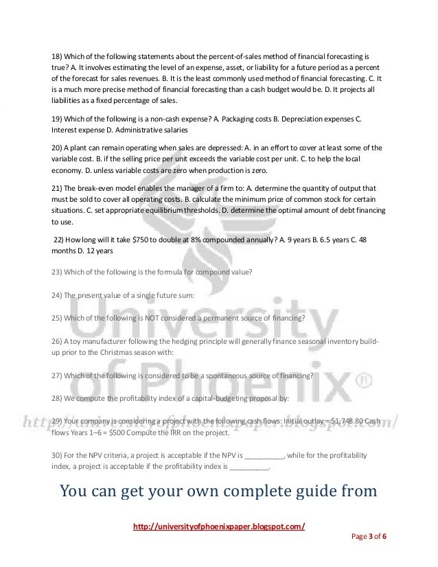 Final Examination Study Guide - University of Phoenix
