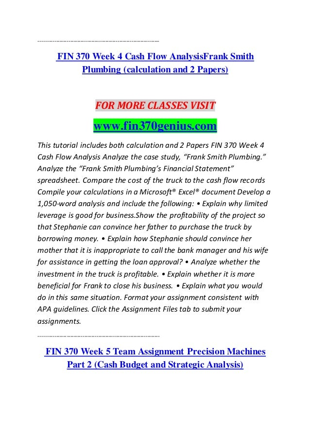 FIN/370 Finance for Business