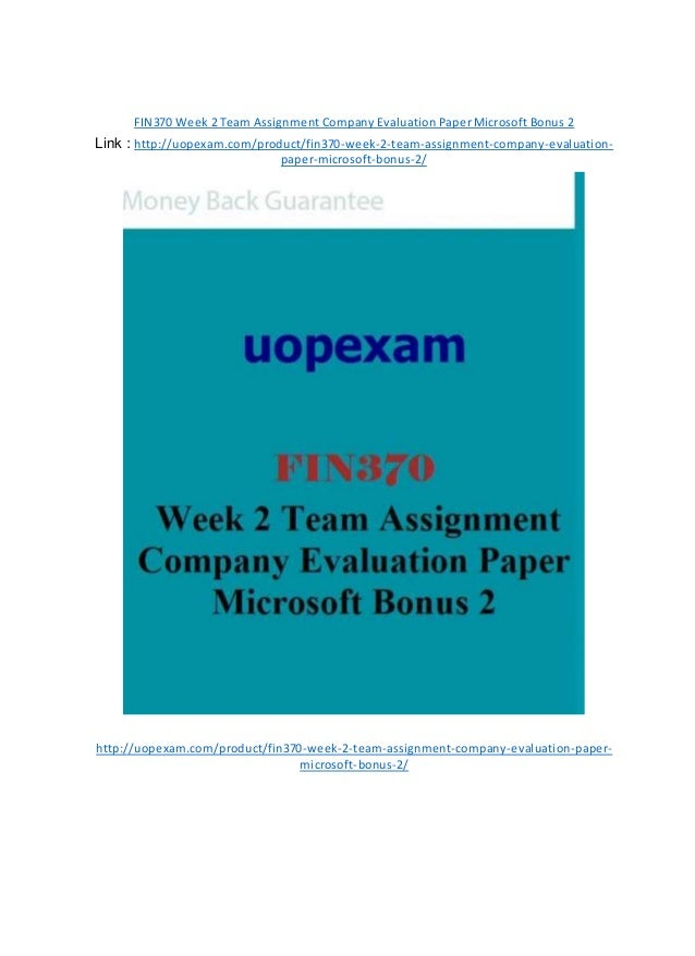 fin370 week 2 individual assignment chapter Welcome to lil-help a free online homework help website ask the community or get customized expert homework assistance.