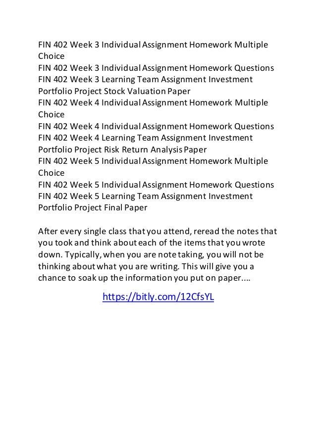 Fin 402 week 3 relative performance
