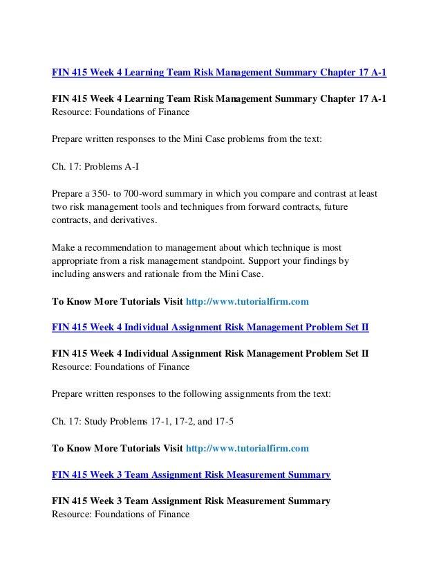 fin 415 week 1 risk management