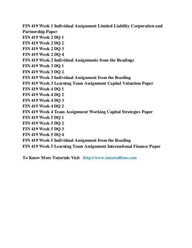 fin 419 assignments from the readings Read fin 419 final exam test bank from the story fin 419 complete class by  fin 419 week 4 individual assignments from the readings fin 419 week 4 individual.