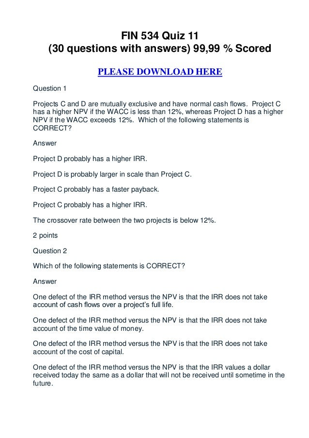 FIN 534 Quiz 11     (30 questions with answers) 99,99 % Scored                     PLEASE DOWNLOAD HEREQuestion 1Projects ...