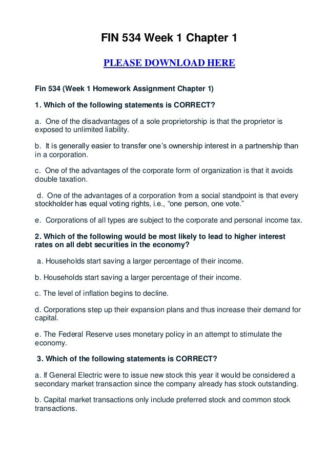 FIN 534 Week 1 Chapter 1                      PLEASE DOWNLOAD HEREFin 534 (Week 1 Homework Assignment Chapter 1)1. Which o...