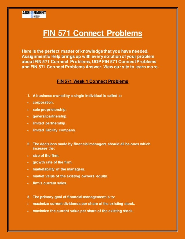 fin problems 5 Fin 534 homework problems week 1-11 – guaranteed a gradeyou can purchase a grade solutions for fin 534 problems from the link below (link in blue to.