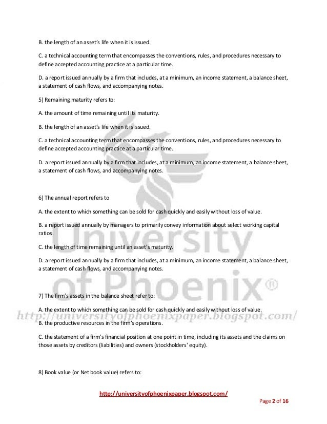 Fin 571 Final Exam University Of Phoenix Final Exams Study Guide Occu