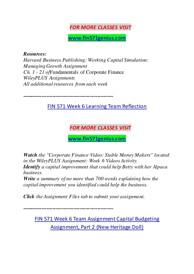 Fin 571 Week 6 Learning Team Reflection A Grade Watch The Corporate
