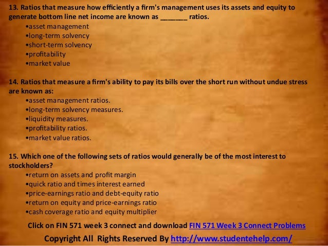 fin 571 problems sets This file of fin 571 week 2 individual assignment text problems set c20 includes: a calculate the expected returns on the stock market and on chicago gear stock b.