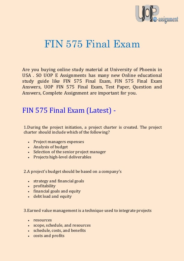 FIN 515 Week 8 Final Exam (Version 1)