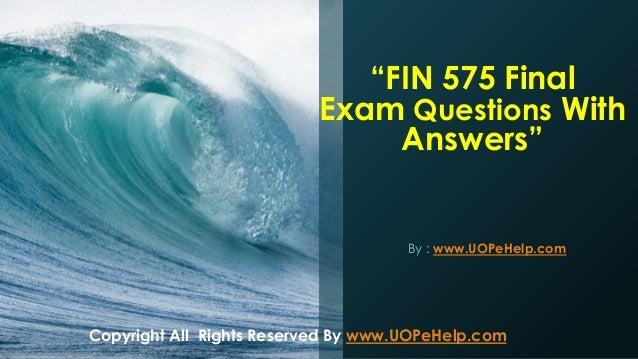 fin 575 final exam