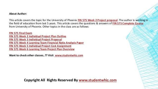 fin 575 week 2 project plan outline