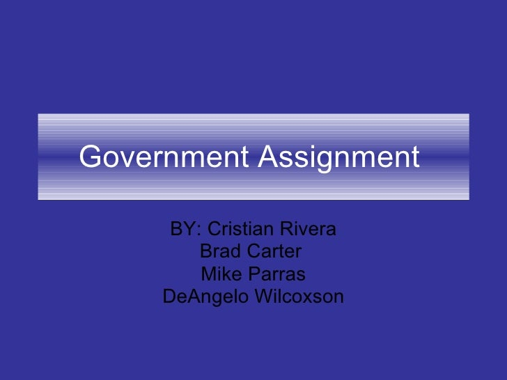 Government Assignment  BY: Cristian Rivera Brad Carter  Mike Parras DeAngelo Wilcoxson